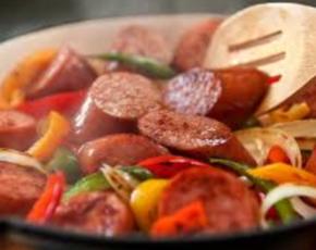 Kielbasa Sausage With Pepper and Onion
