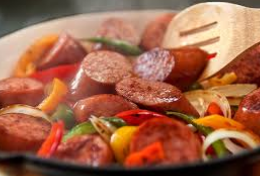 Kielbasa Sausage With Pepper and Onion